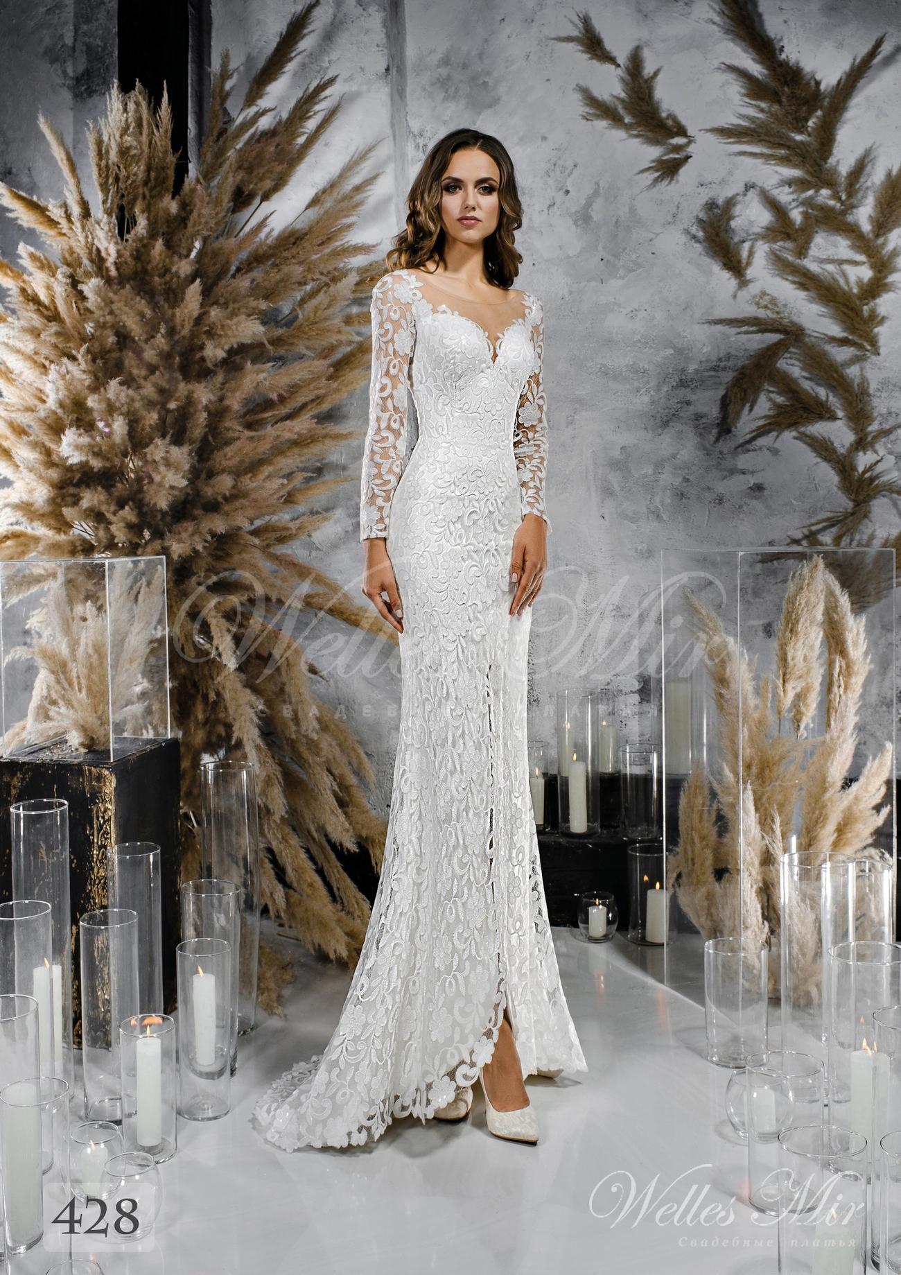 Кружевное свадебное платье прямого кроя оптом