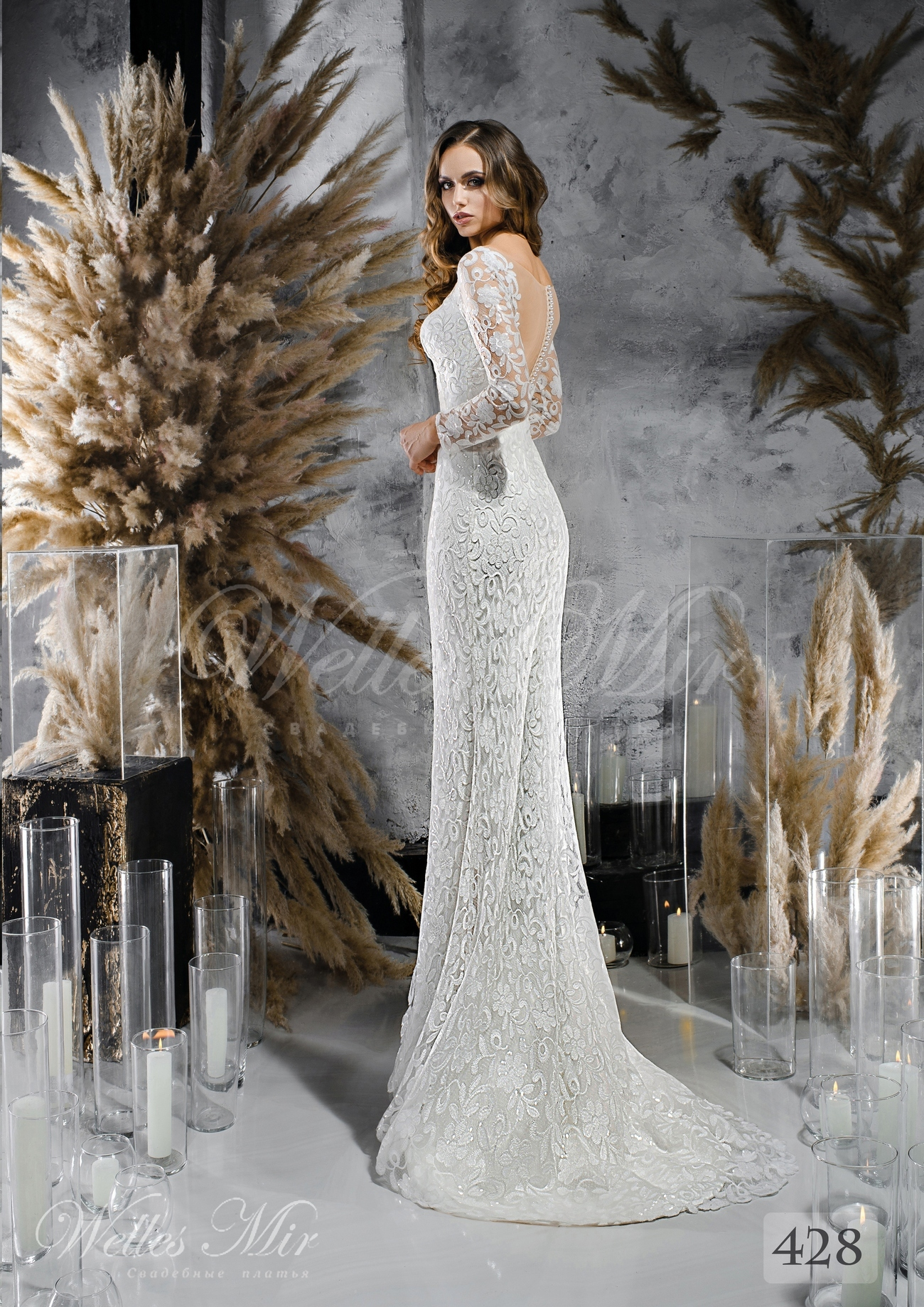 Lace wedding dress straight cut wholesale 428
