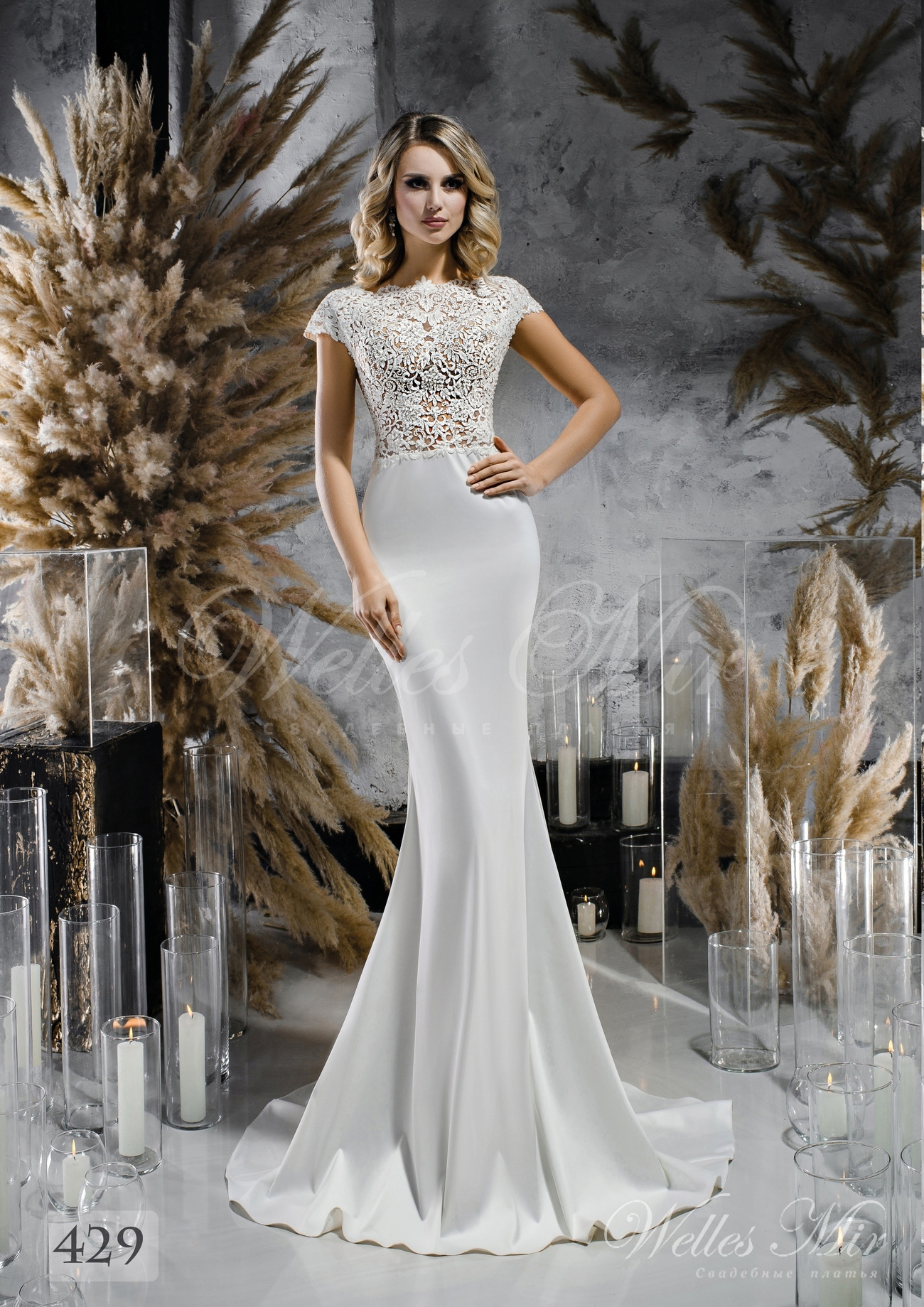 Satin  slim silhouette wedding dress wholesale 429