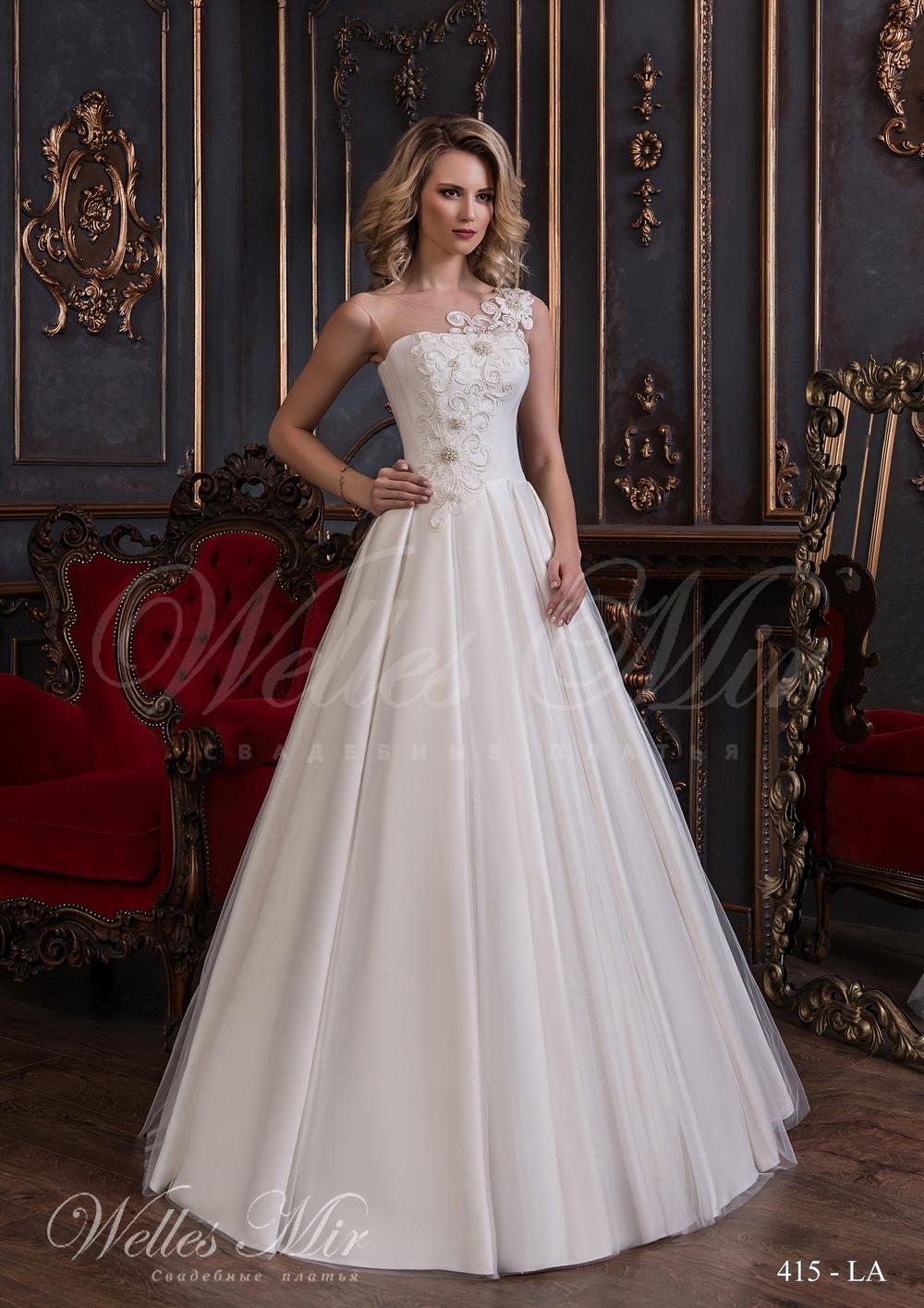 Свадебное платье с прямым декольте