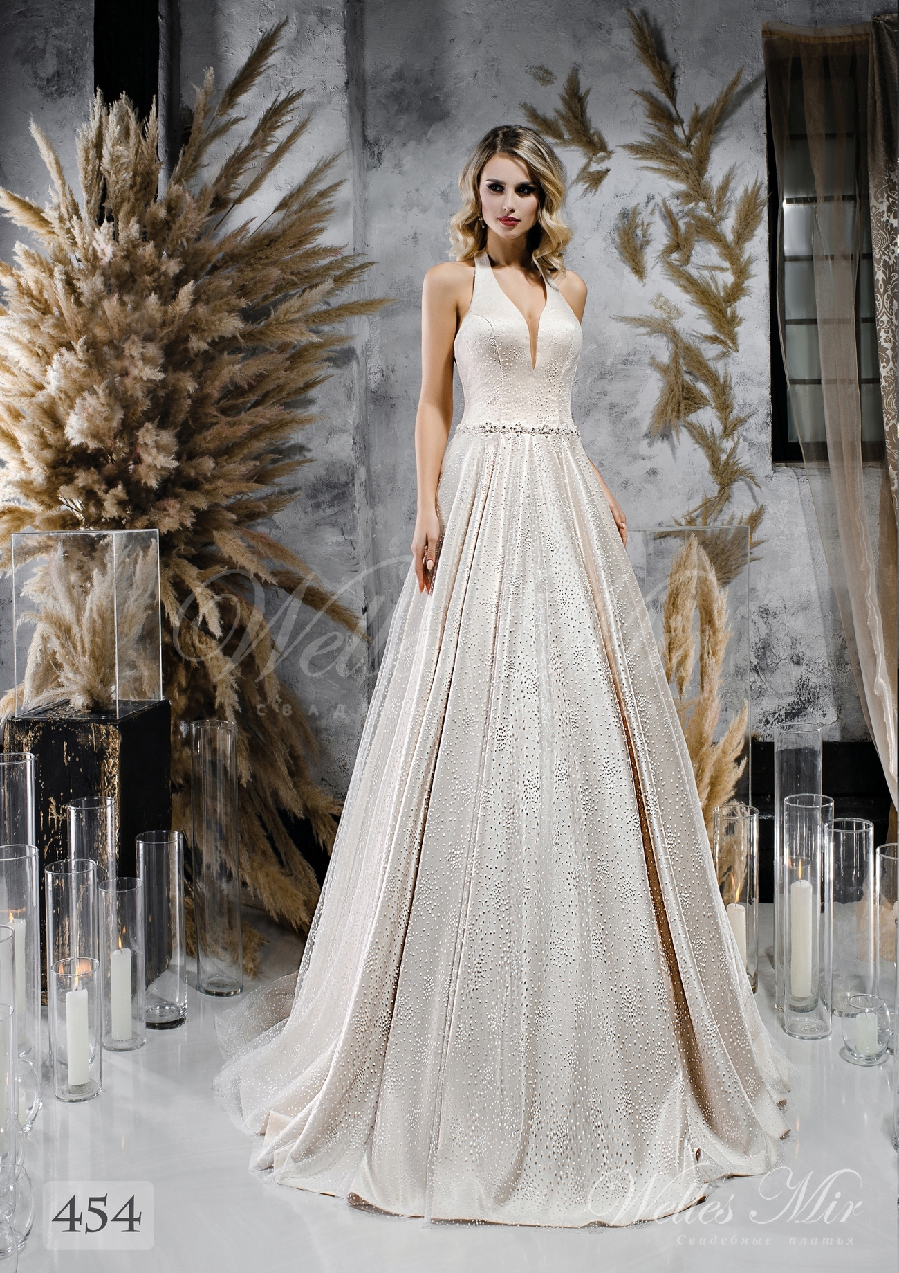 Satin wedding dress A-line with strap over neck wholesale from WellesMir