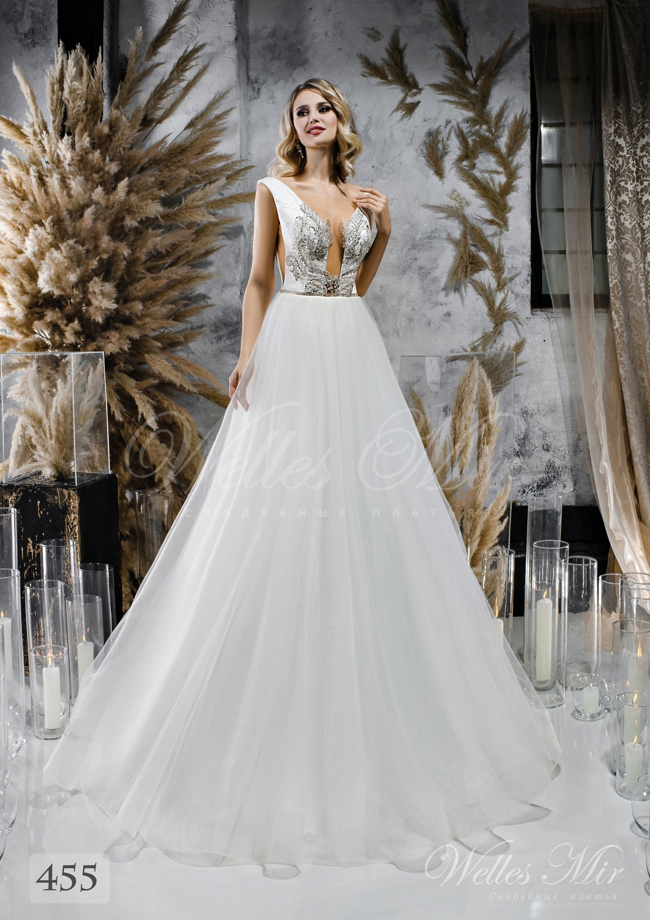Wedding dress with a lush skirt and split corset wholesale from WellesMir 455