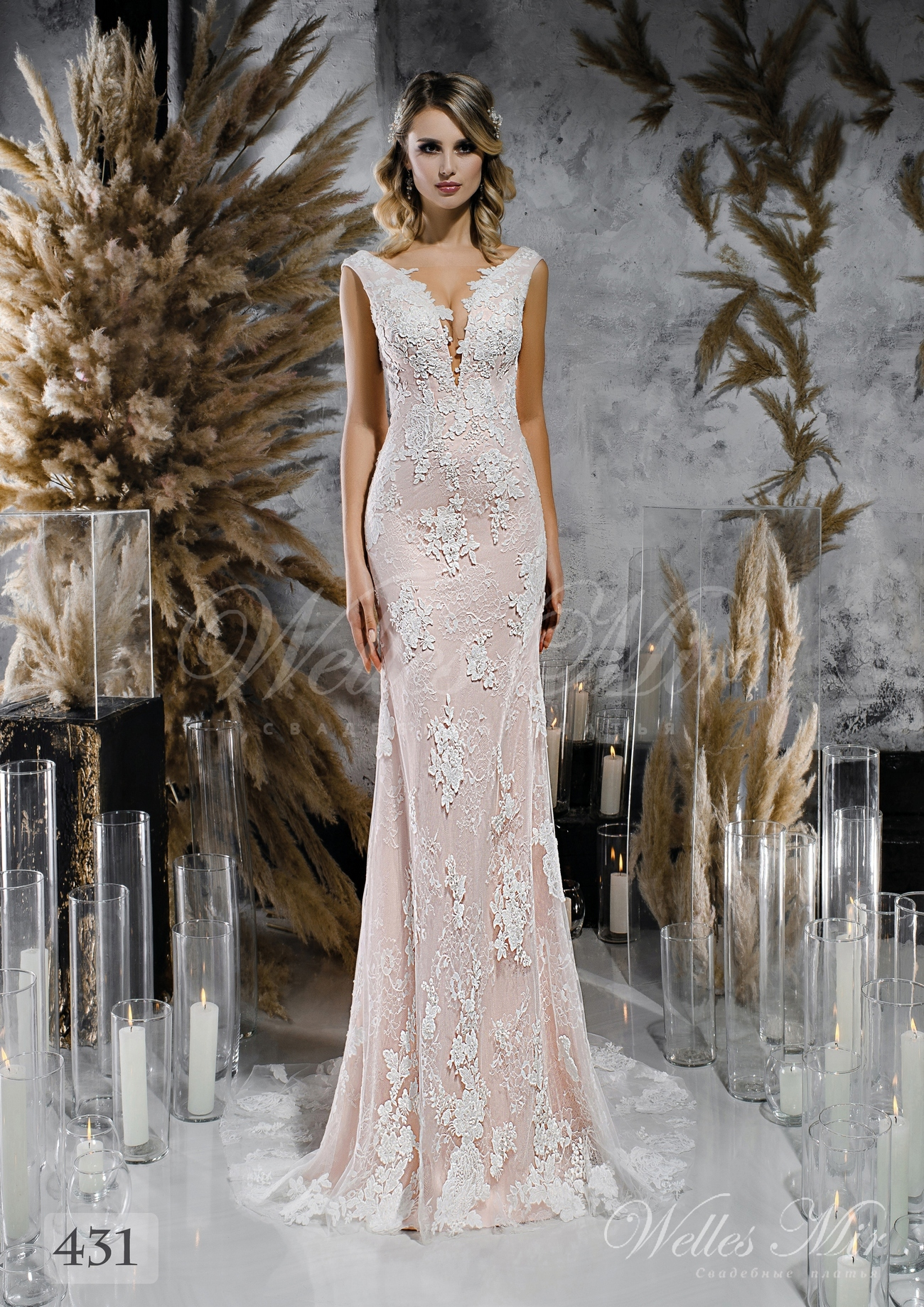 Lace straight wedding dress gently pink colored wholesale 431