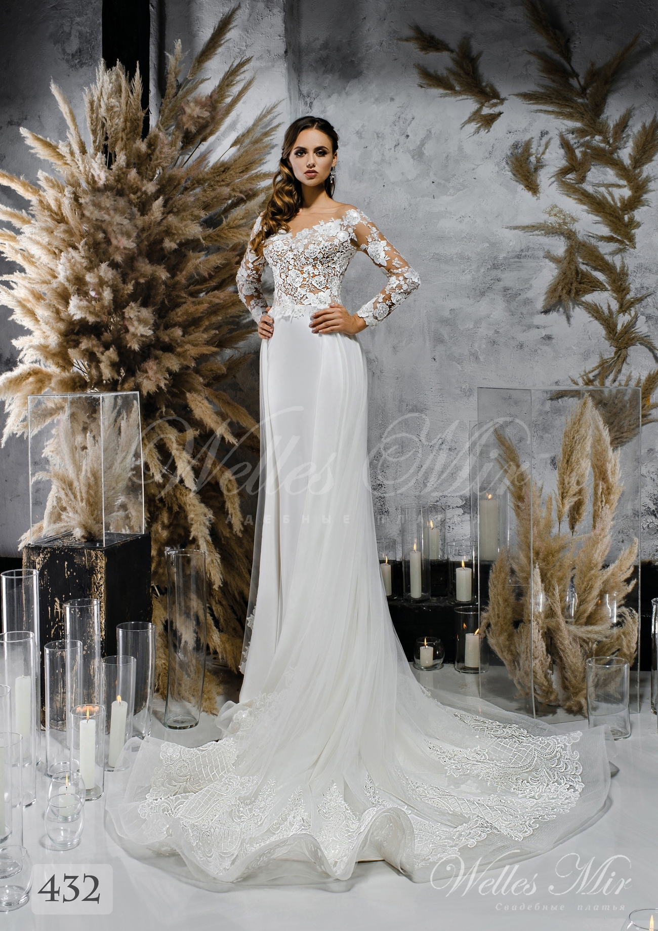 White wedding dress with wavy skirt wholesale